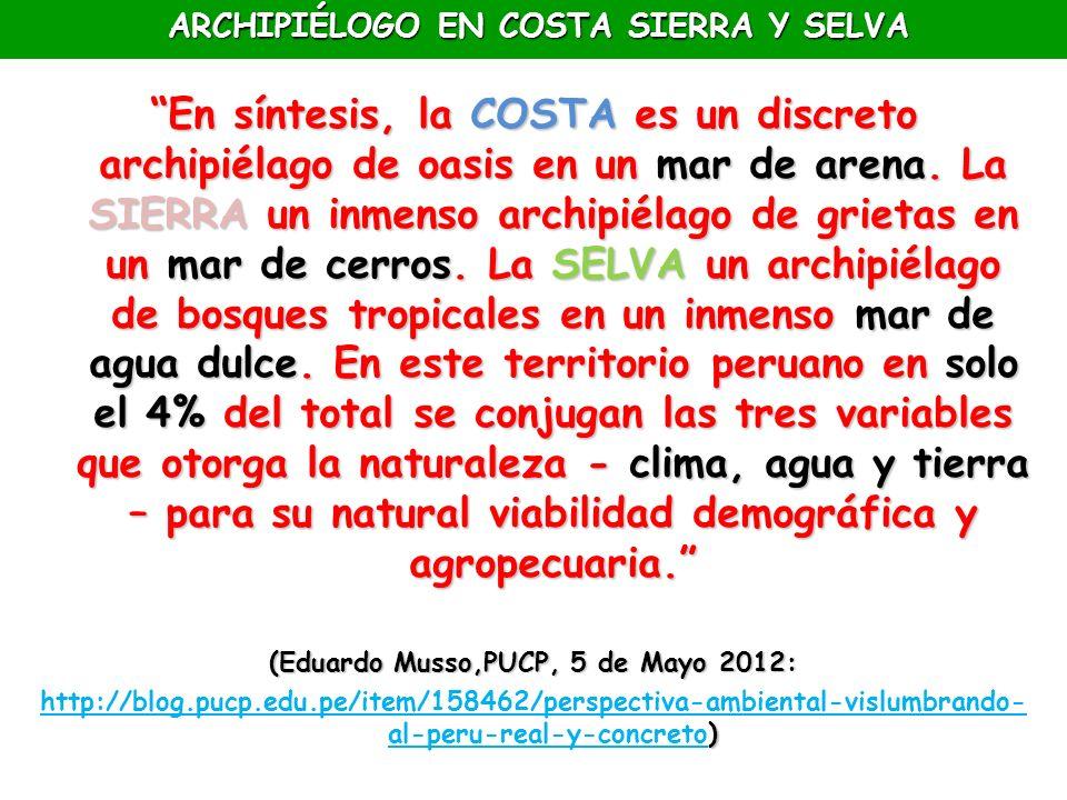 ARCHIPIÉLOGO EN COSTA SIERRA Y SELVA