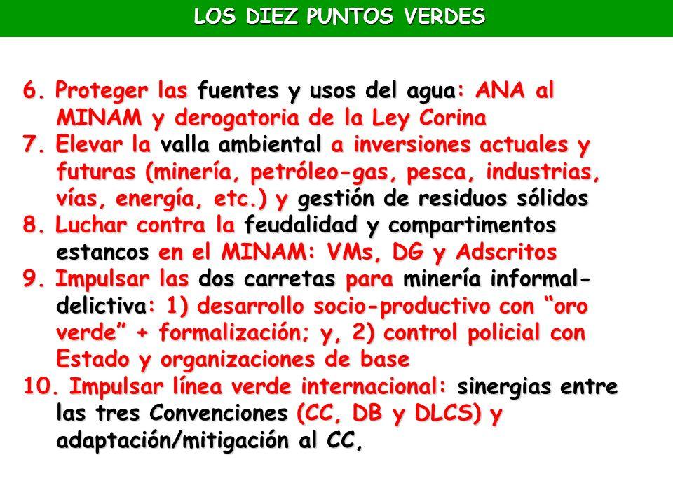 LOS DIEZ PUNTOS VERDES 6. Proteger las fuentes y usos del agua: ANA al MINAM y derogatoria de la Ley Corina.