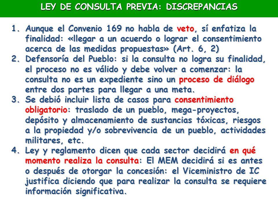 LEY DE CONSULTA PREVIA: DISCREPANCIAS
