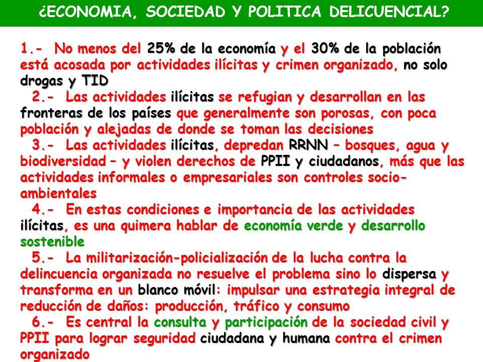 ¿ECONOMIA, SOCIEDAD Y POLITICA DELICUENCIAL