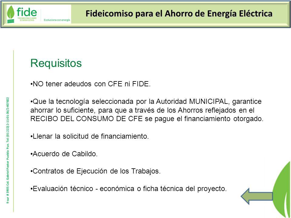 Requisitos NO tener adeudos con CFE ni FIDE.