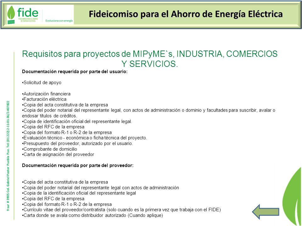Requisitos para proyectos de MIPyME`s, INDUSTRIA, COMERCIOS Y SERVICIOS.