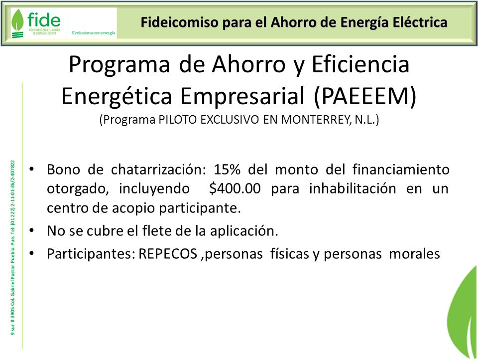 Programa de Ahorro y Eficiencia Energética Empresarial (PAEEEM) (Programa PILOTO EXCLUSIVO EN MONTERREY, N.L.)