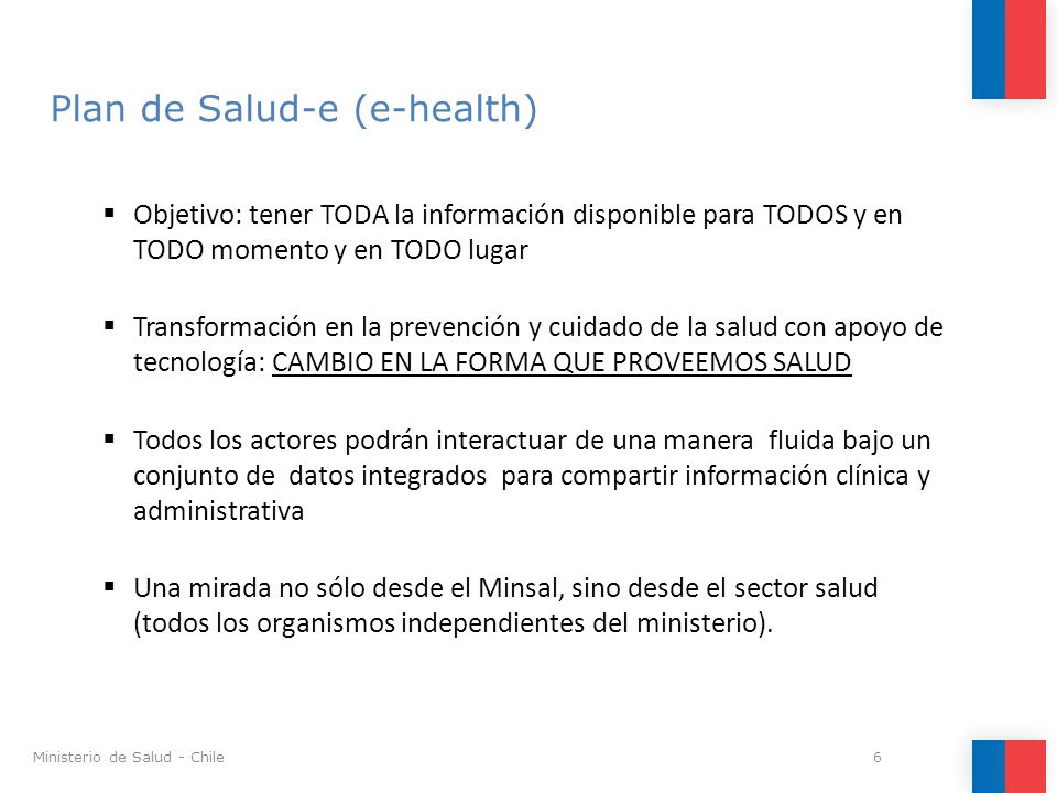Plan de Salud-e (e-health)