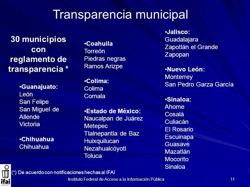 30 municipios con reglamento de transparencia *