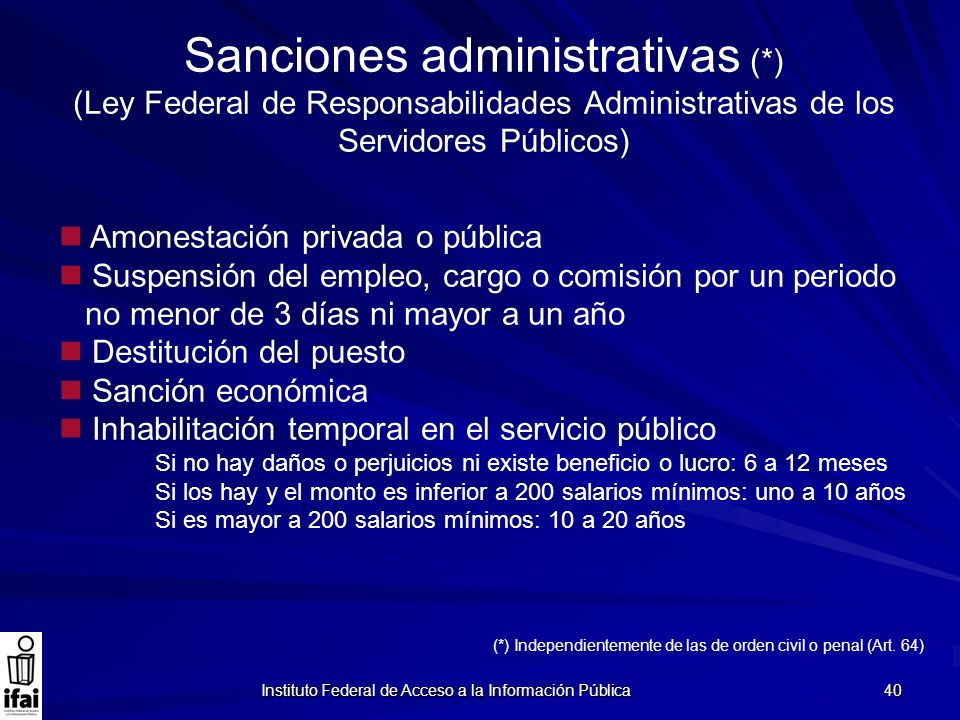 Sanciones administrativas (*)