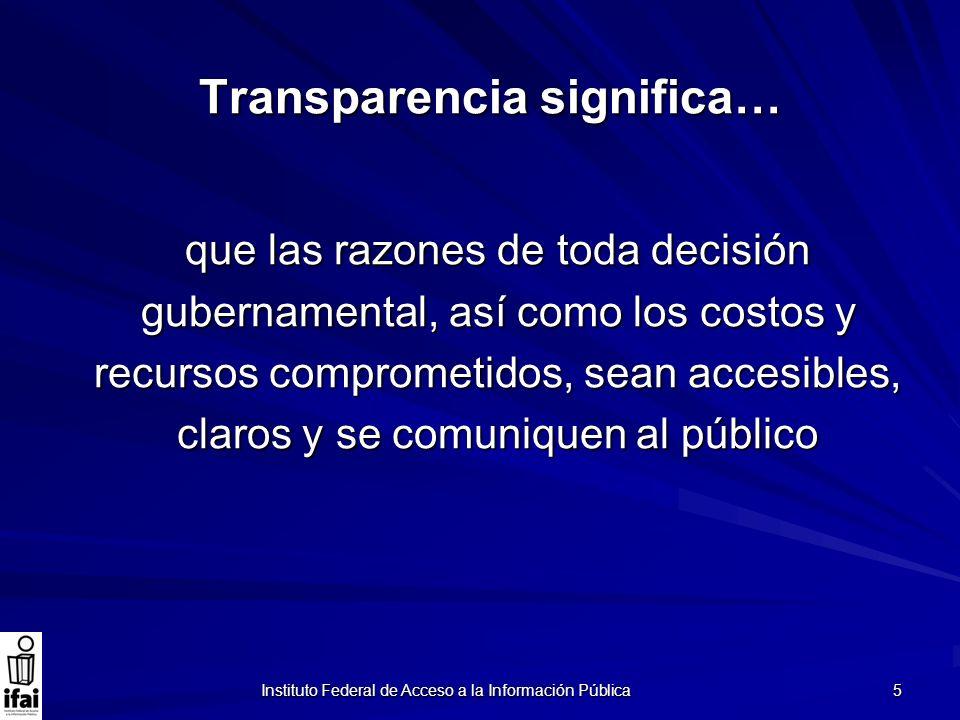 Transparencia significa…