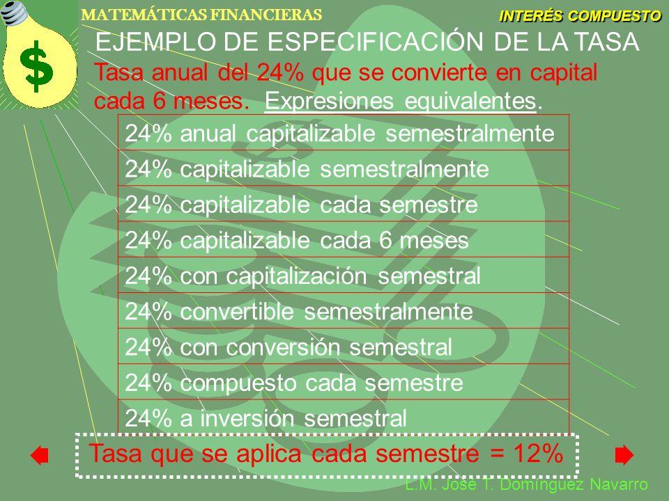 EJEMPLO DE ESPECIFICACIÓN DE LA TASA
