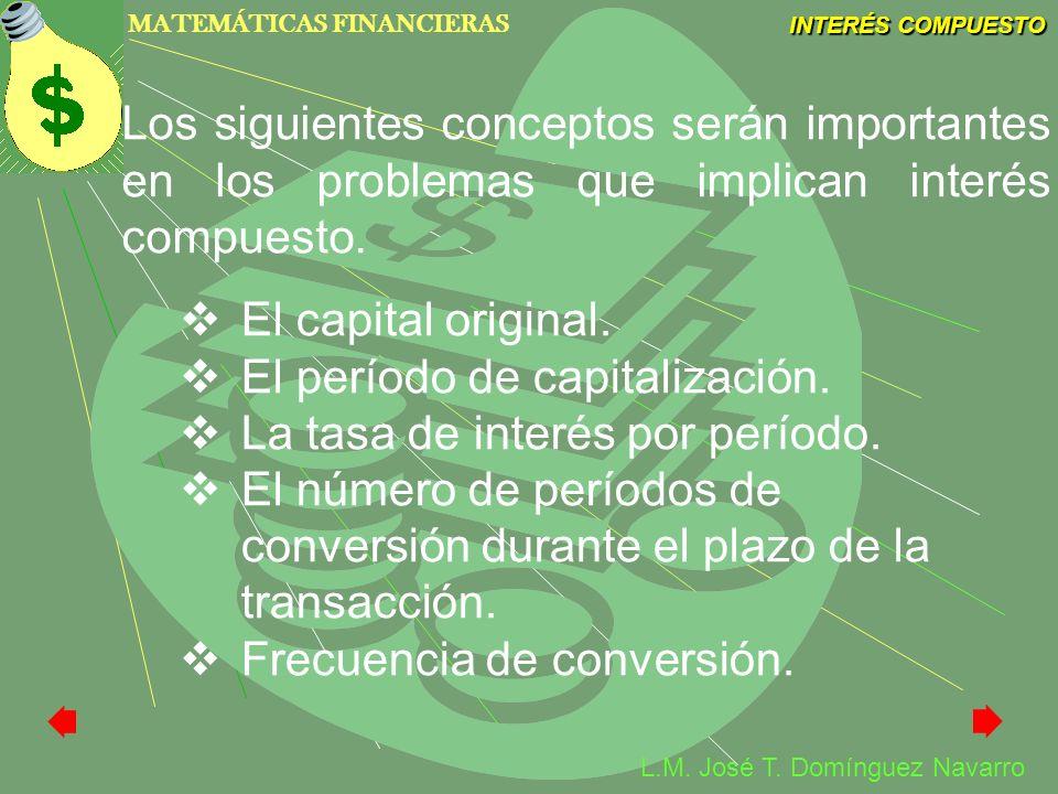 Los siguientes conceptos serán importantes en los problemas que implican interés compuesto.