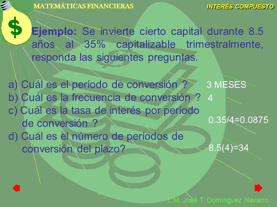 a) Cuál es el período de conversión