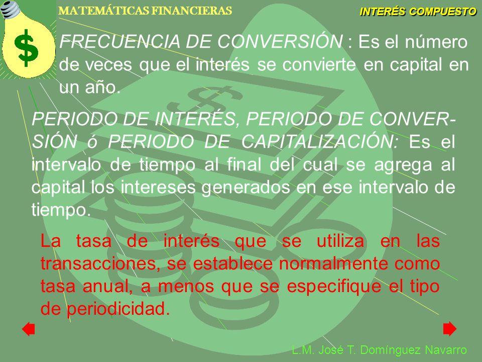 FRECUENCIA DE CONVERSIÓN : Es el número de veces que el interés se convierte en capital en un año.