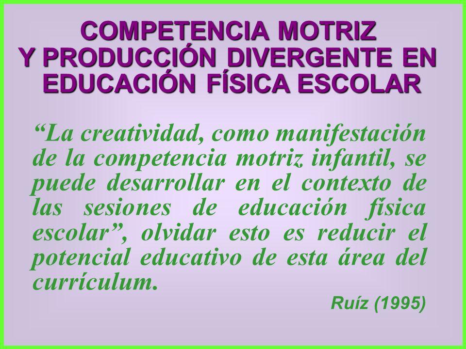 Y PRODUCCIÓN DIVERGENTE EN EDUCACIÓN FÍSICA ESCOLAR
