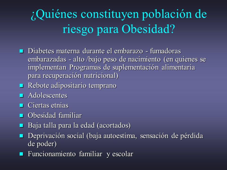 ¿Quiénes constituyen población de riesgo para Obesidad