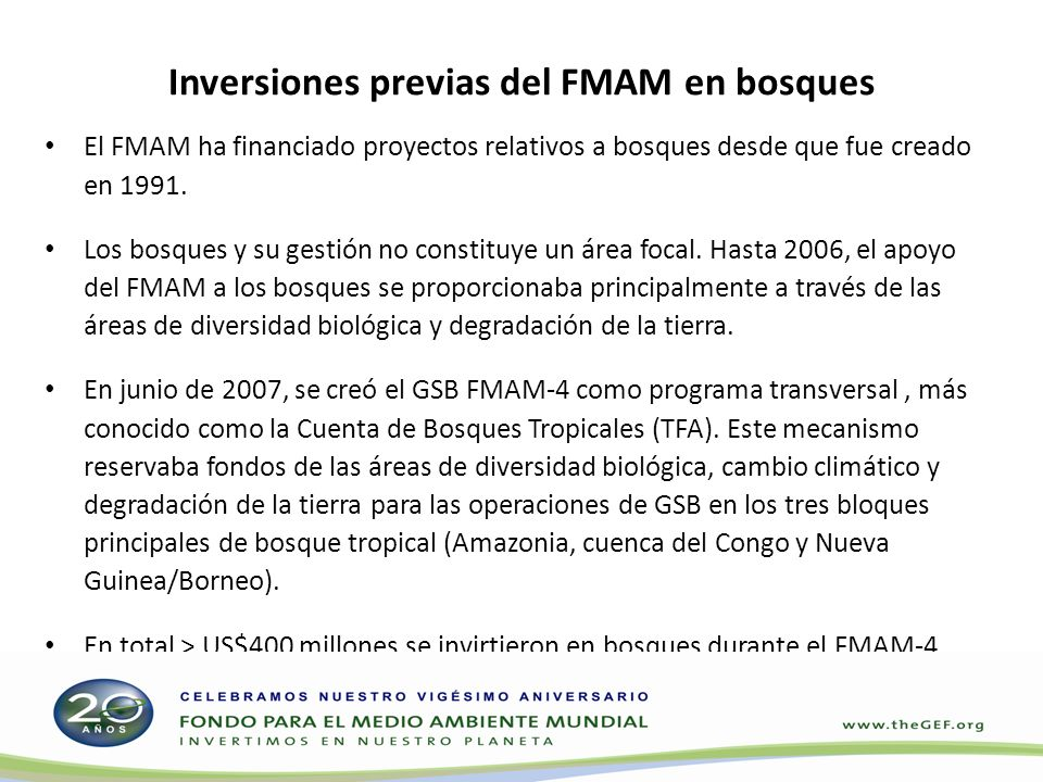 Inversiones previas del FMAM en bosques