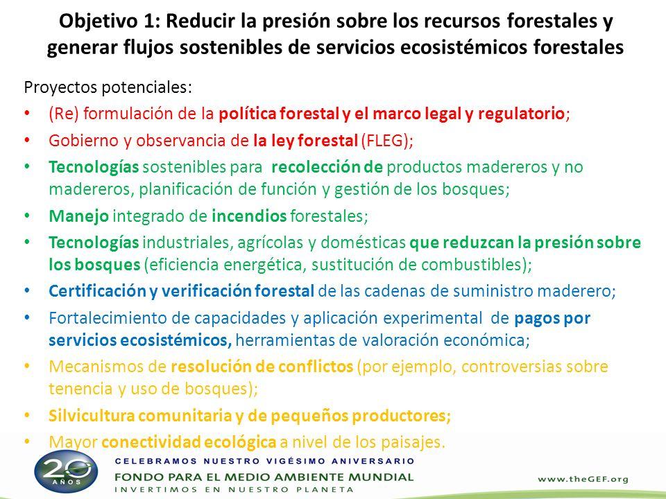 Objetivo 1: Reducir la presión sobre los recursos forestales y generar flujos sostenibles de servicios ecosistémicos forestales
