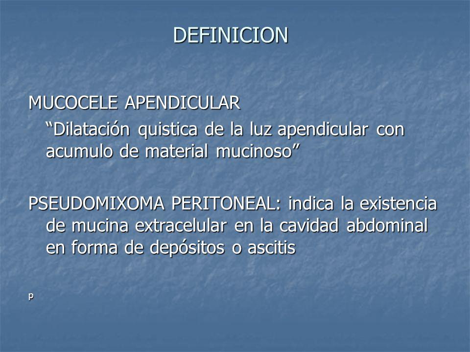 DEFINICION MUCOCELE APENDICULAR
