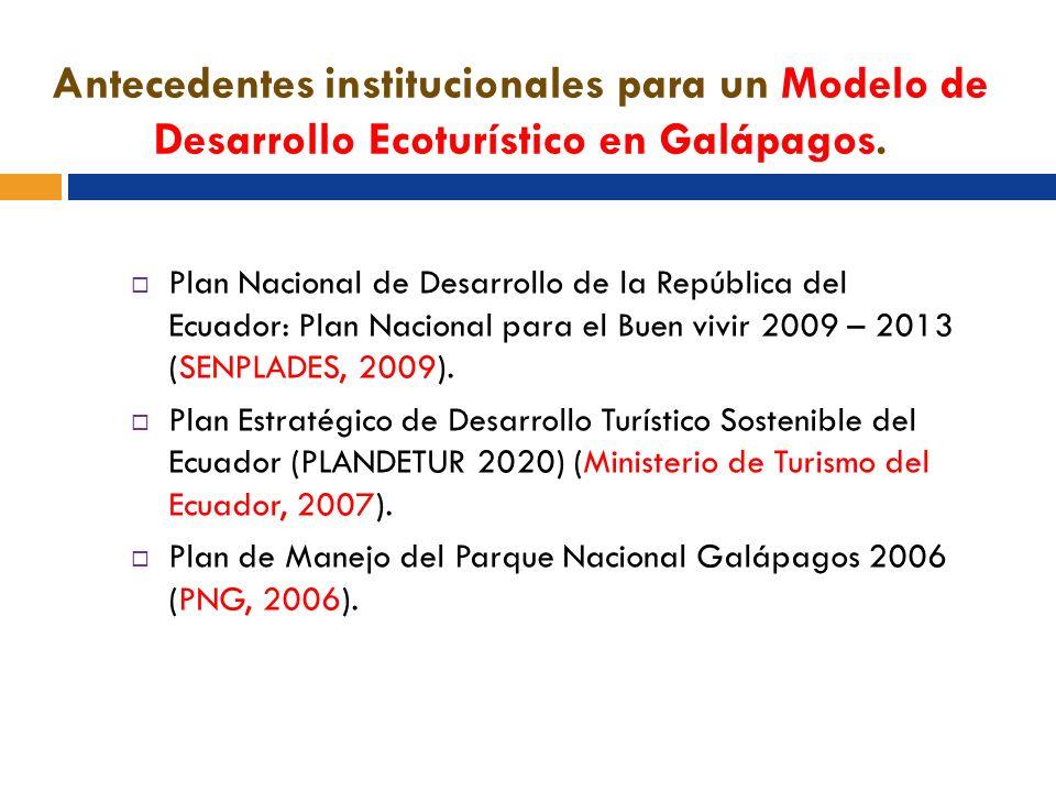 Antecedentes institucionales para un Modelo de Desarrollo Ecoturístico en Galápagos.