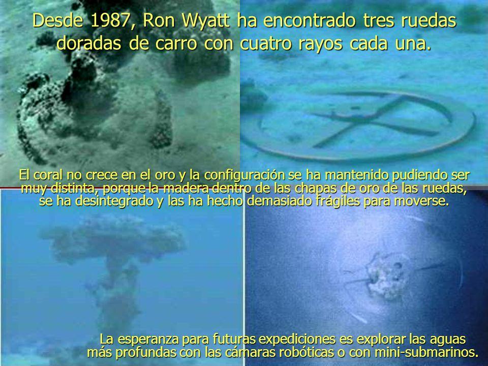 Desde 1987, Ron Wyatt ha encontrado tres ruedas doradas de carro con cuatro rayos cada una.