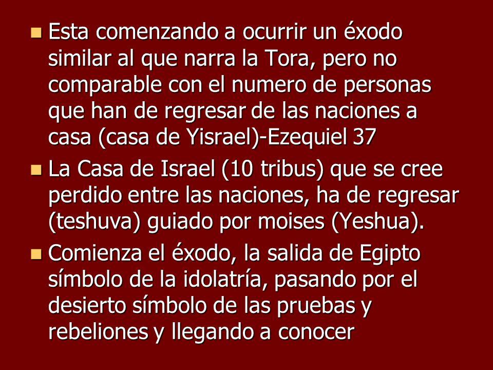 Esta comenzando a ocurrir un éxodo similar al que narra la Tora, pero no comparable con el numero de personas que han de regresar de las naciones a casa (casa de Yisrael)-Ezequiel 37