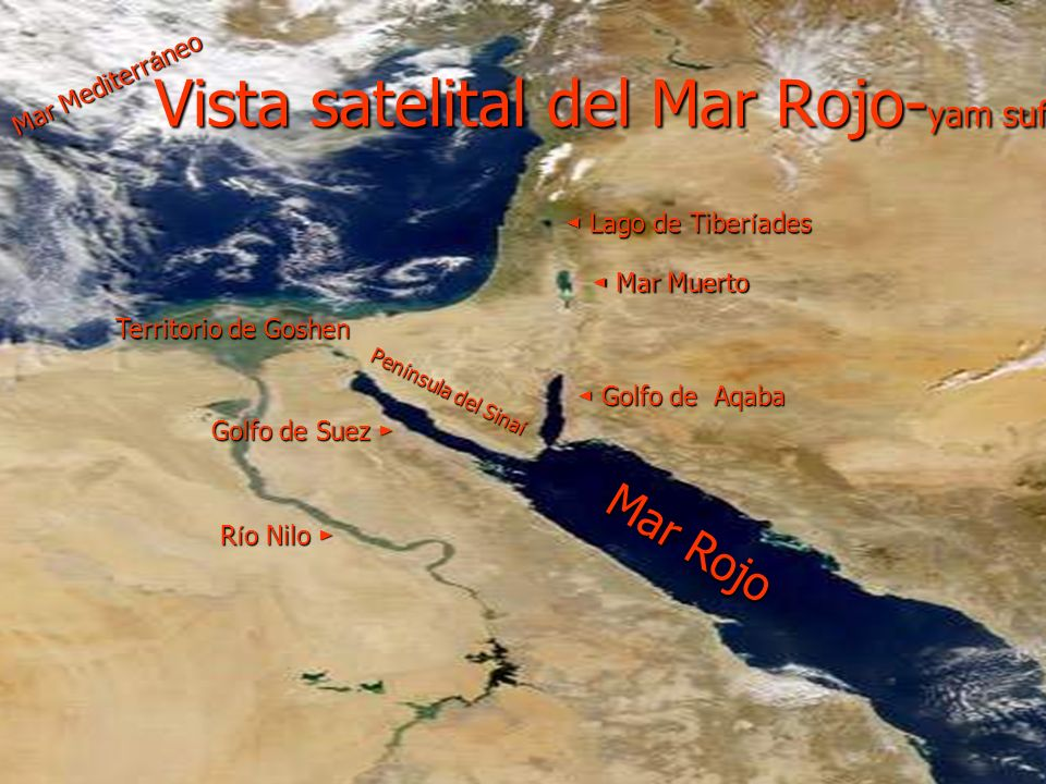 Vista satelital del Mar Rojo-yam suf