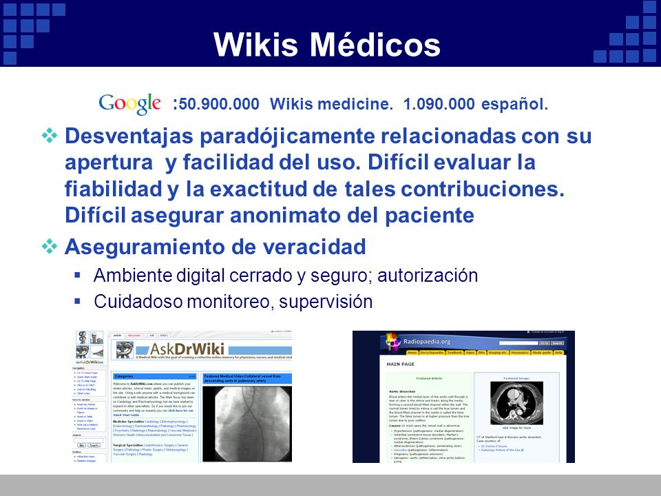 Wikis Médicos :50.900.000 Wikis medicine. 1.090.000 español.