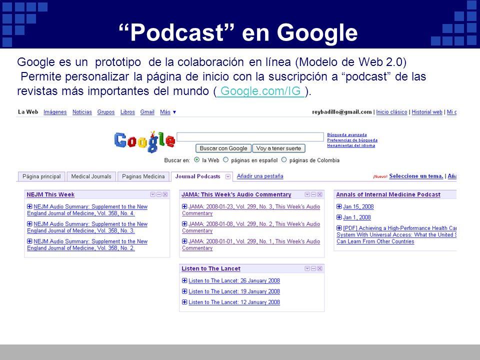 Podcast en Google Google es un prototipo de la colaboración en línea (Modelo de Web 2.0)
