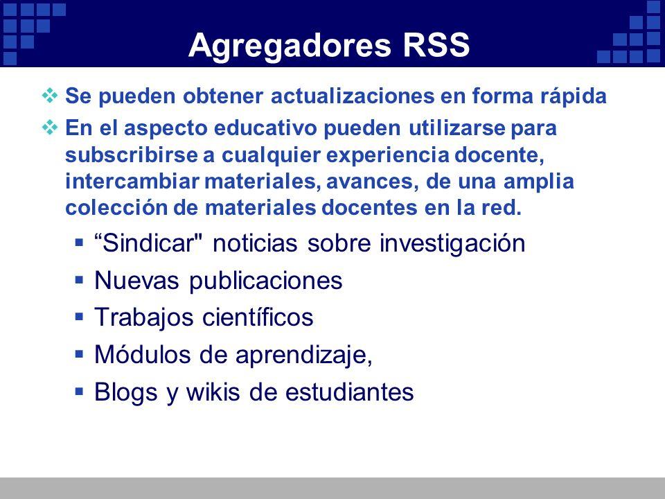 Agregadores RSS Sindicar noticias sobre investigación