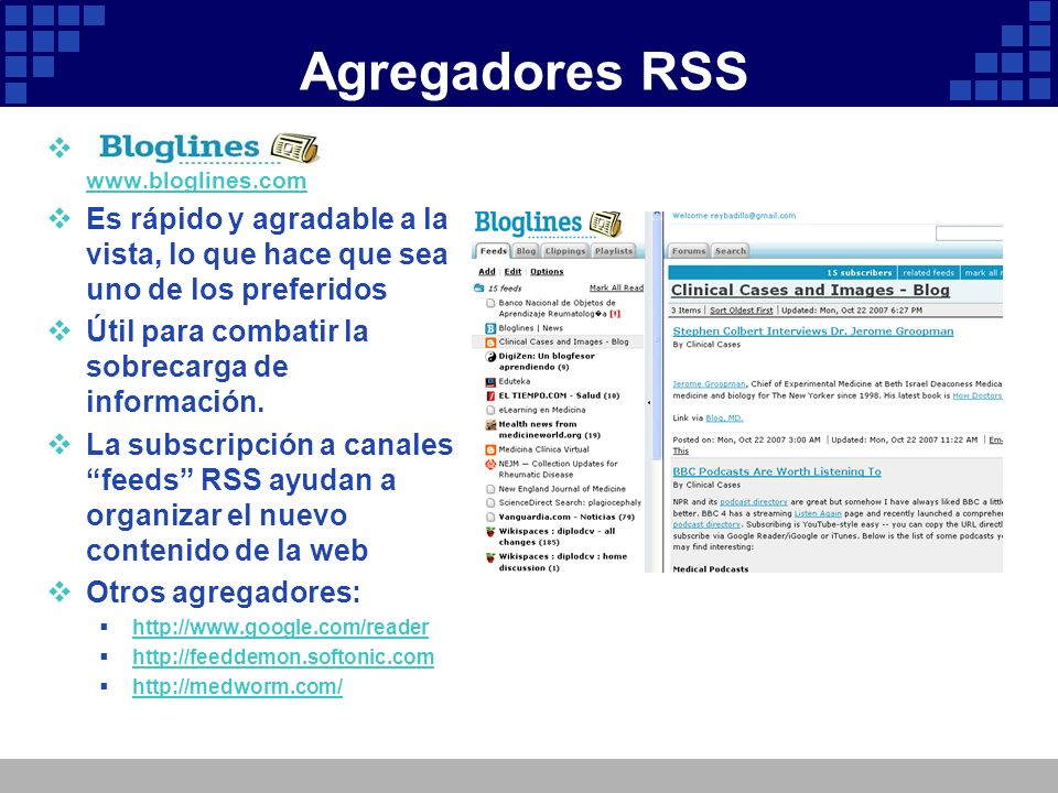 Agregadores RSS www.bloglines.com