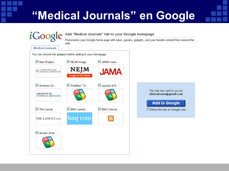 Medical Journals en Google