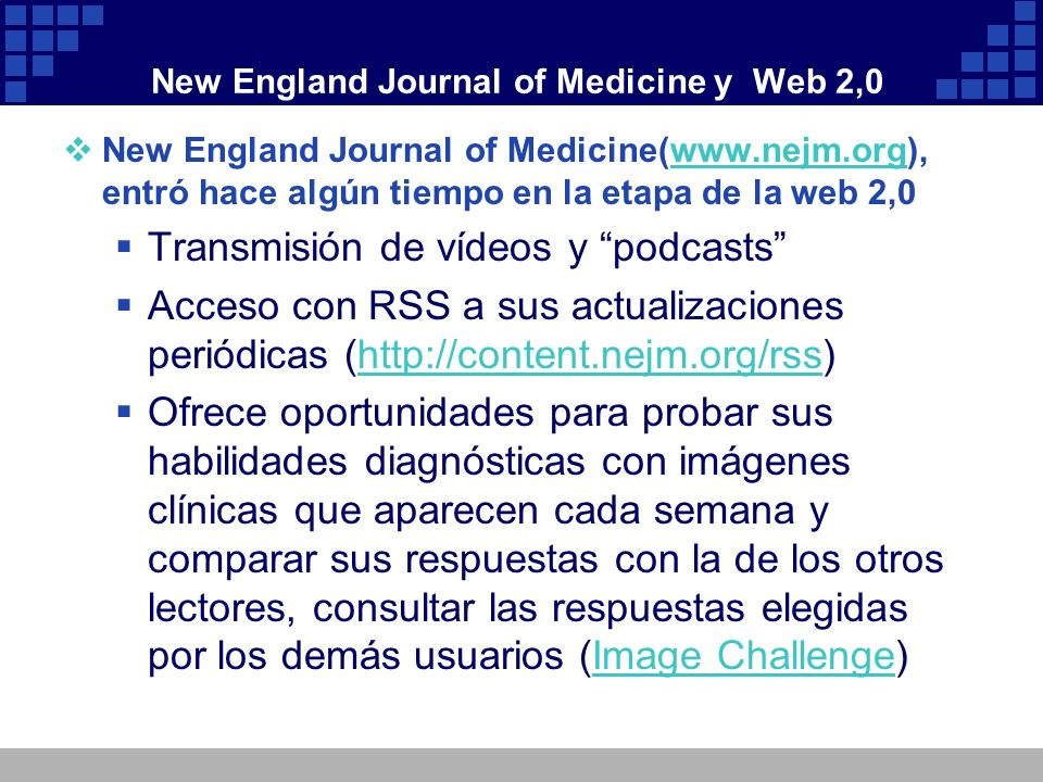 New England Journal of Medicine y Web 2,0