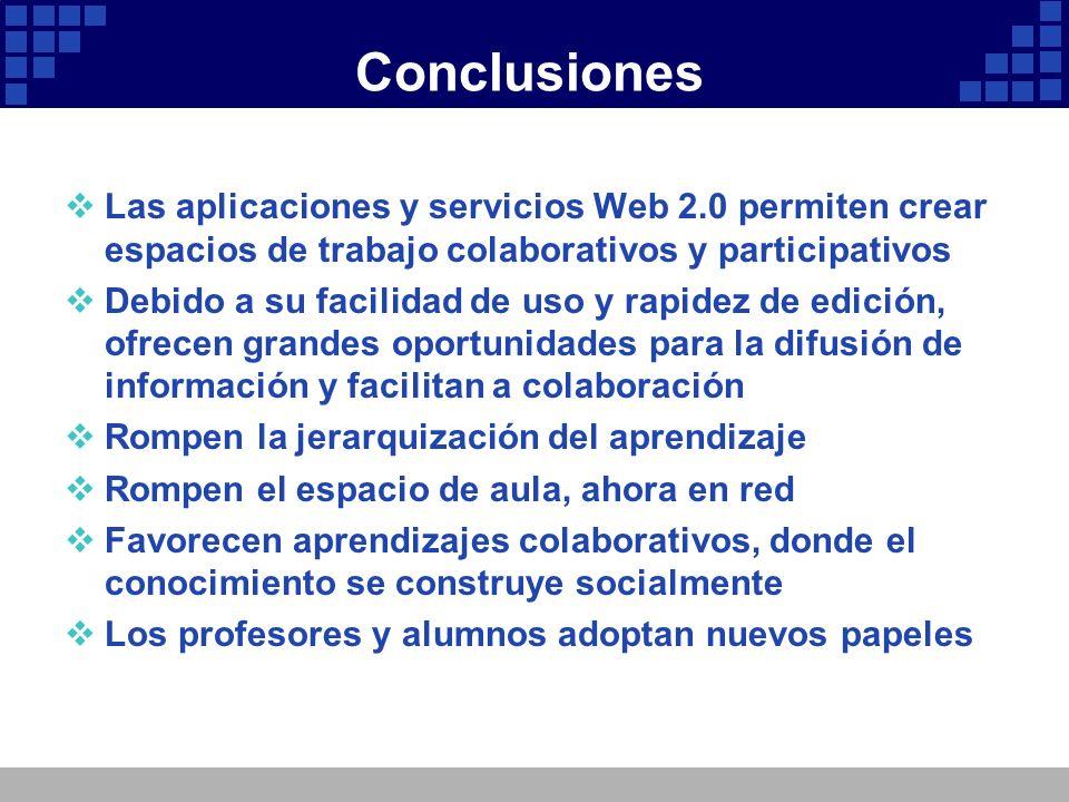 Conclusiones Las aplicaciones y servicios Web 2.0 permiten crear espacios de trabajo colaborativos y participativos.
