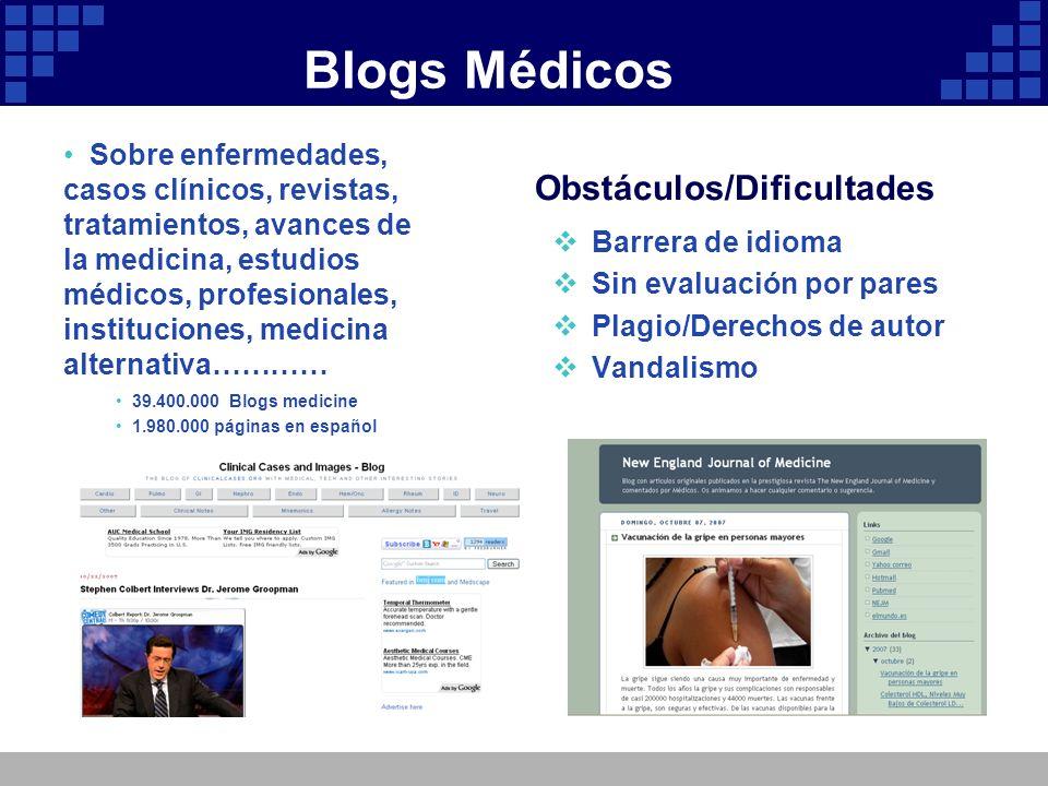 Blogs Médicos Obstáculos/Dificultades