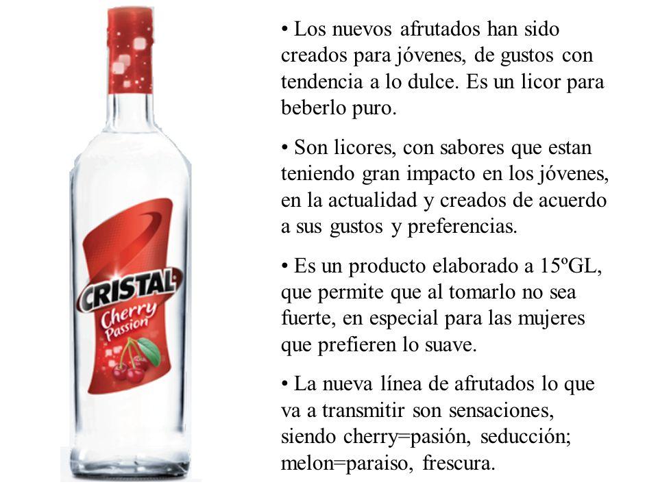 Los nuevos afrutados han sido creados para jóvenes, de gustos con tendencia a lo dulce. Es un licor para beberlo puro.