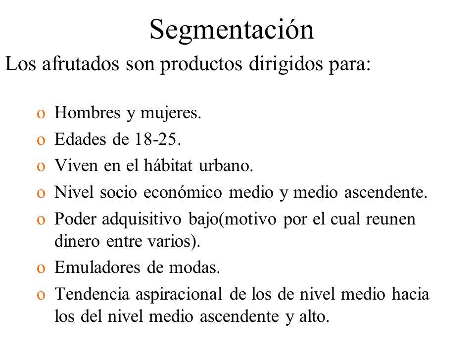 Segmentación Los afrutados son productos dirigidos para: