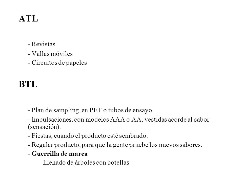 - Plan de sampling, en PET o tubos de ensayo.
