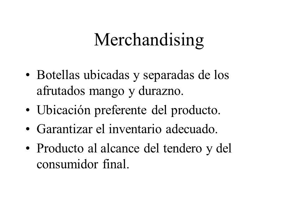 Merchandising Botellas ubicadas y separadas de los afrutados mango y durazno. Ubicación preferente del producto.