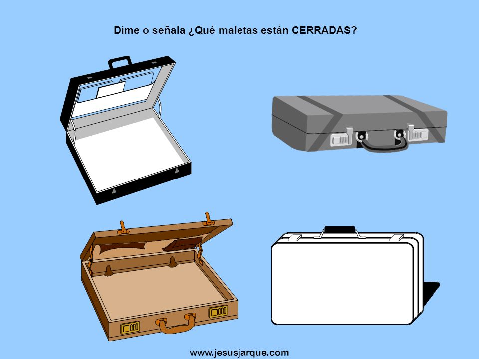 Dime o señala ¿Qué maletas están CERRADAS