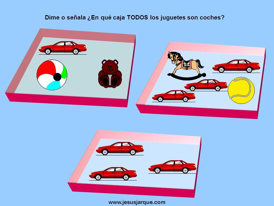 Dime o señala ¿En qué caja TODOS los juguetes son coches
