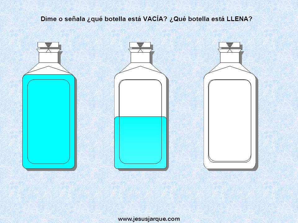 Dime o señala ¿qué botella está VACÍA ¿Qué botella está LLENA