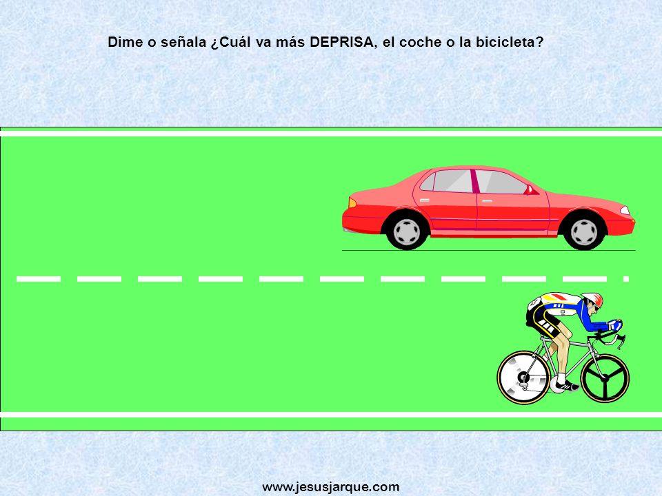 Dime o señala ¿Cuál va más DEPRISA, el coche o la bicicleta