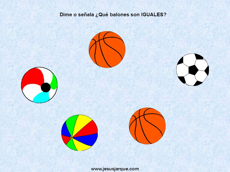 Dime o señala ¿Qué balones son IGUALES