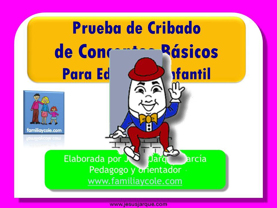 de Conceptos Básicos Prueba de Cribado Para Educación Infantil