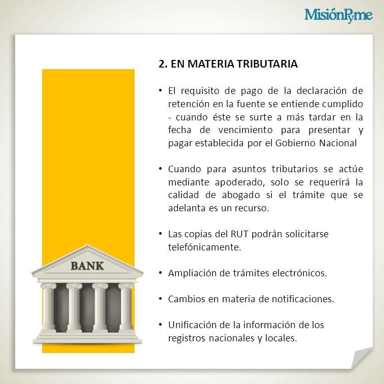 2. EN MATERIA TRIBUTARIA