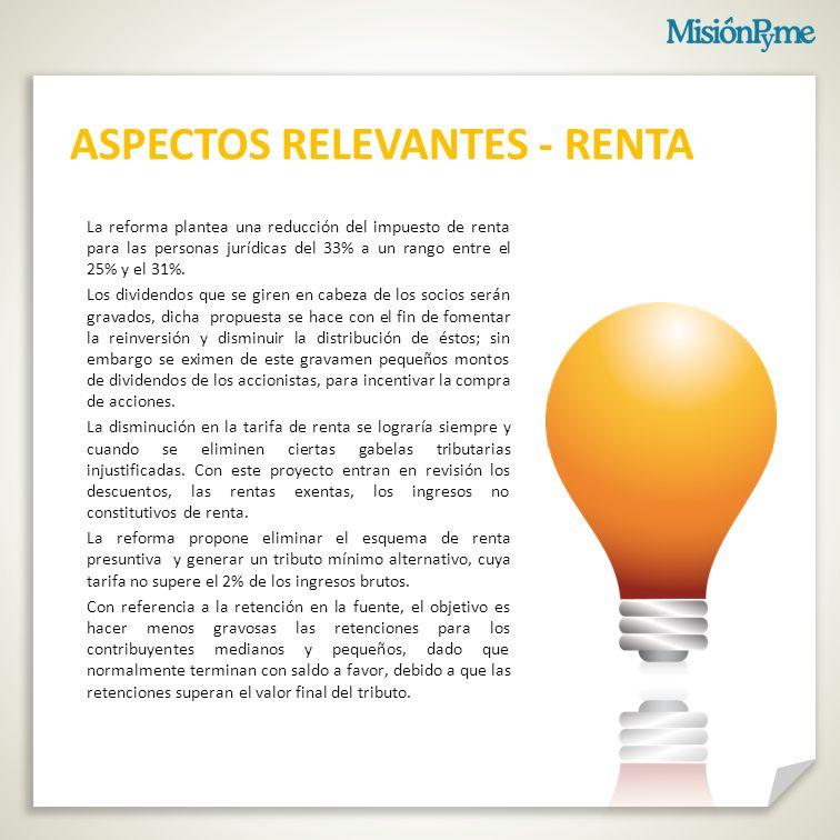 ASPECTOS RELEVANTES - RENTA