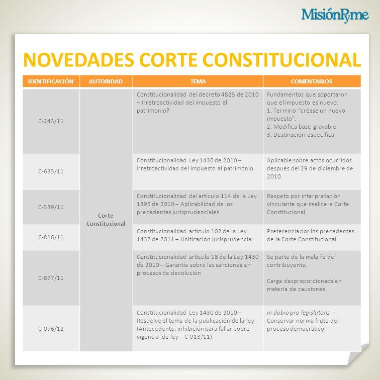 NOVEDADES CORTE CONSTITUCIONAL
