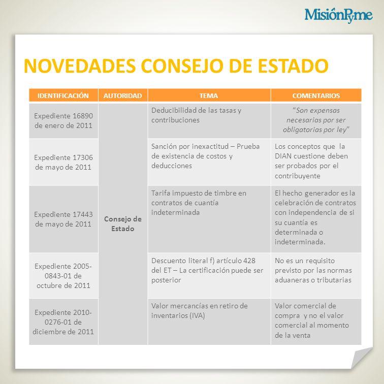 NOVEDADES CONSEJO DE ESTADO