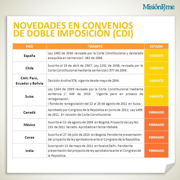 NOVEDADES EN CONVENIOS DE DOBLE IMPOSICIÓN (CDI)