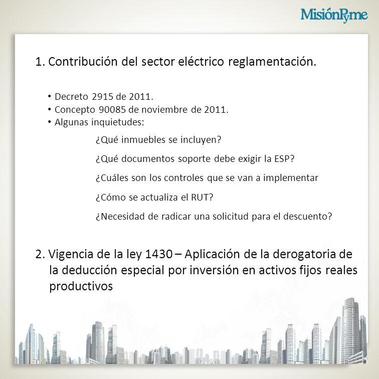 1. Contribución del sector eléctrico reglamentación.