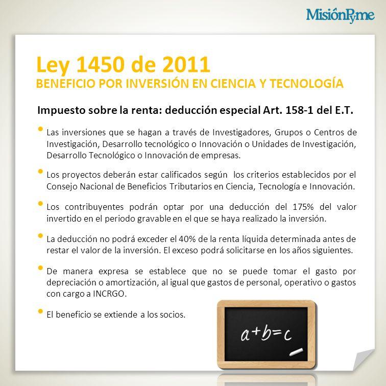 Ley 1450 de 2011 BENEFICIO POR INVERSIÓN EN CIENCIA Y TECNOLOGÍA