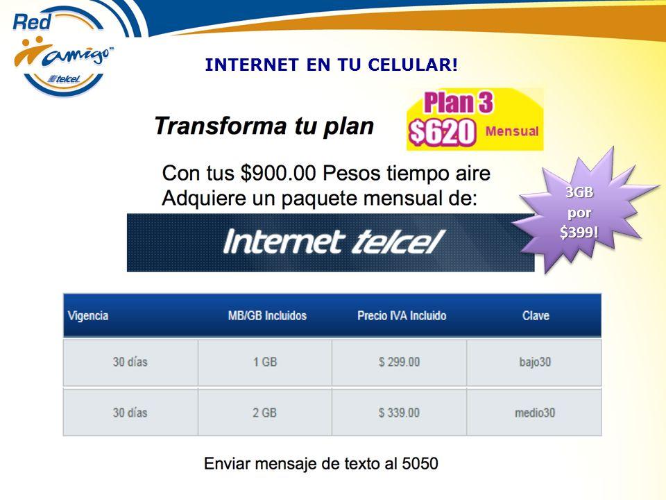 INTERNET EN TU CELULAR! 3GB por $399!